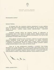 List Prezydenta Miasta Krakowa 2014